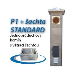 Komínová sestava STANDARD P1+šachta, 8 m, 180-90°, 1x čistič