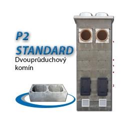 Komínová sestava STANDARD P2, 8 m, 180-90°/180-90°, 2x čistič