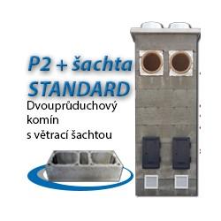 Komínová sestava STANDARD P2+šachta, 8 m, 180-90°/180-90°, 2x čistič