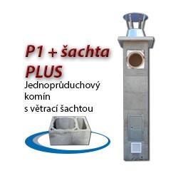 Komínová sestava PLUS P1+šachta, 8 m, 180-90°, 1x čistič
