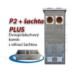 Komínová sestava PLUS P2+šachta, 8 m, 180-90°/180-90°, 2x čistič